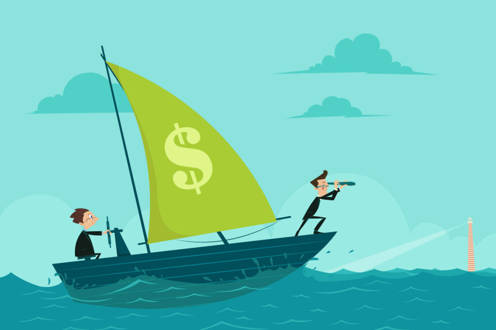 easy to edit vector illustration of businessmen on boat watching through telescope