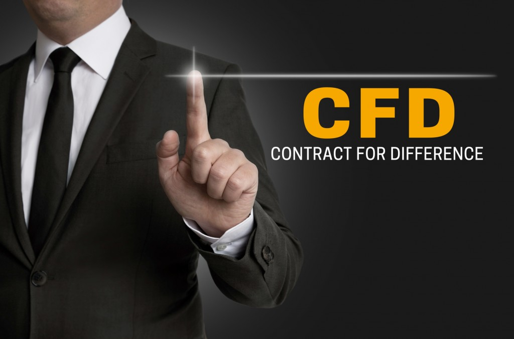 cfd touchscreen is operated by businessman.