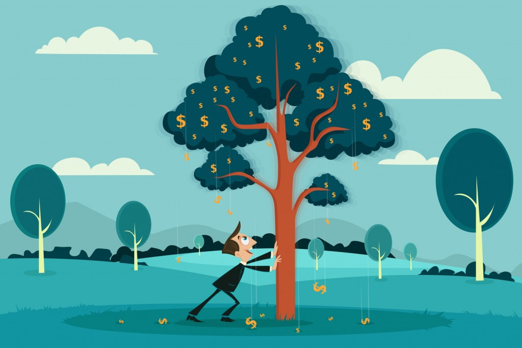 easy to edit vector illustration of businessman plucking dollar by shaking tree