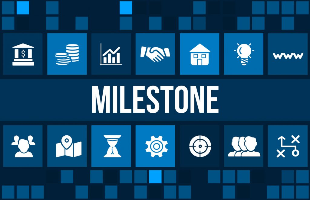 Milestone concept image with business icons and copyspace