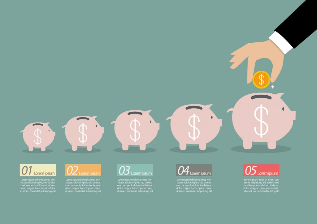 Step of business hand insert coin into the piggy bank infographic. Financial business plan