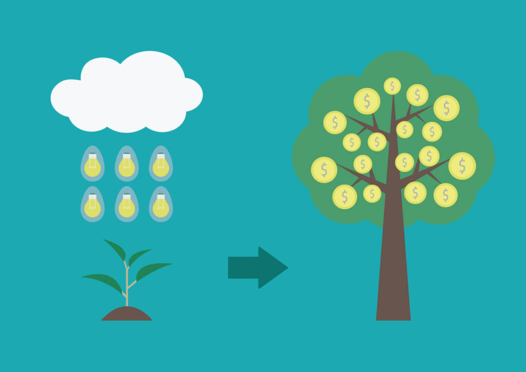 the rain of idea make a sprout become to wealth tree, business concept